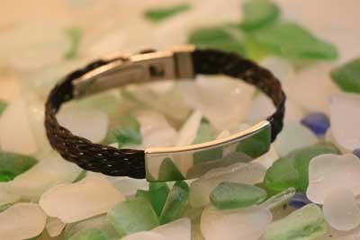 ID Horse Hair Bracelet on Sea Glass